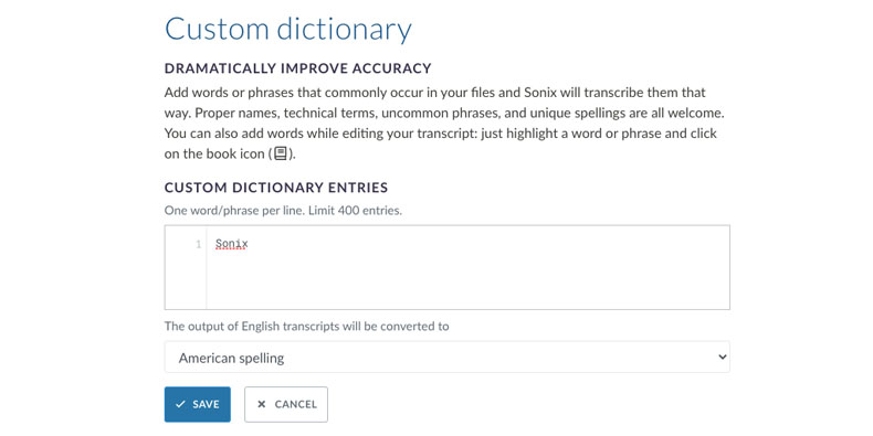 Manage the words in your custom dictionary