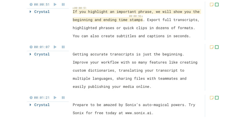 Timestamps for every word in your transcript