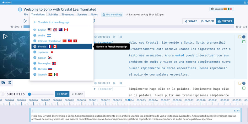 Create subtitles in multiple languages with automated translation